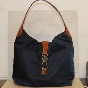 Dooney Bourke Navy Nylon Logo Lock Shoulder Bag